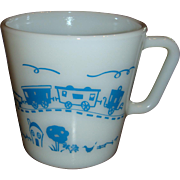 1960's Child's Pyrex Cup Mug With Train From Set Excellent Condition