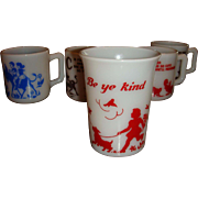 Hazel Atlas Be Ye Kind Kiddie Tumbler Glass Children and Dogs