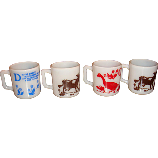 4 Hazel Atlas Alphabet Cups Mugs Kiddie Ware Goose, Cow, Donkey, 1940's
