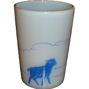 Mary Had A Little Lamb Vintage Opalescent Glass Tumbler or Cup