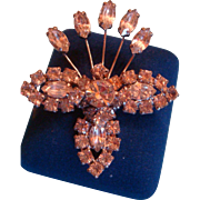 Kramer of New York Figural Rhinestone Crystal Brooch Prong Set