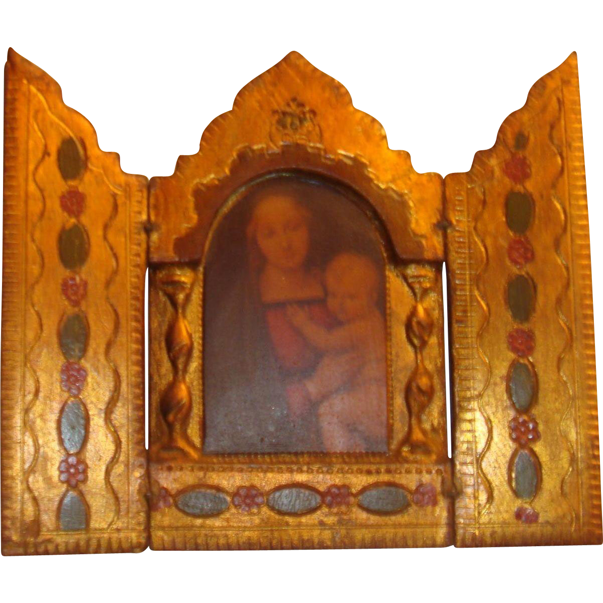 SALE Madonna and Child Small Triptych Made in Italy Gold Gesso Warm Colors Florentine Dollhouse Size