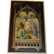 1910 Gold Gilt Embossed Christmas Postcard Mary, Jesus and Wise Men Gel