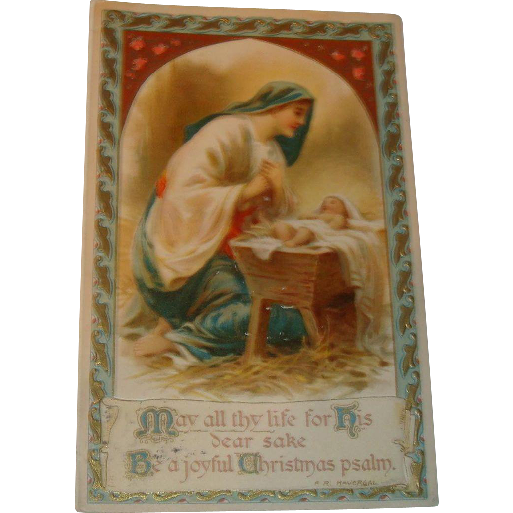 1906 Undivided Back Christmas Embossed Postcard Mary Kneels Before Jesus in Manger
