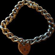 Sterling Silver Heart Padlock Clasp Bracelet Birmingham, England Hallmark Safety Chain