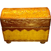 Italian Florentine Wooden Domed Chest Footed Trunk Gold Gesso and Yellow