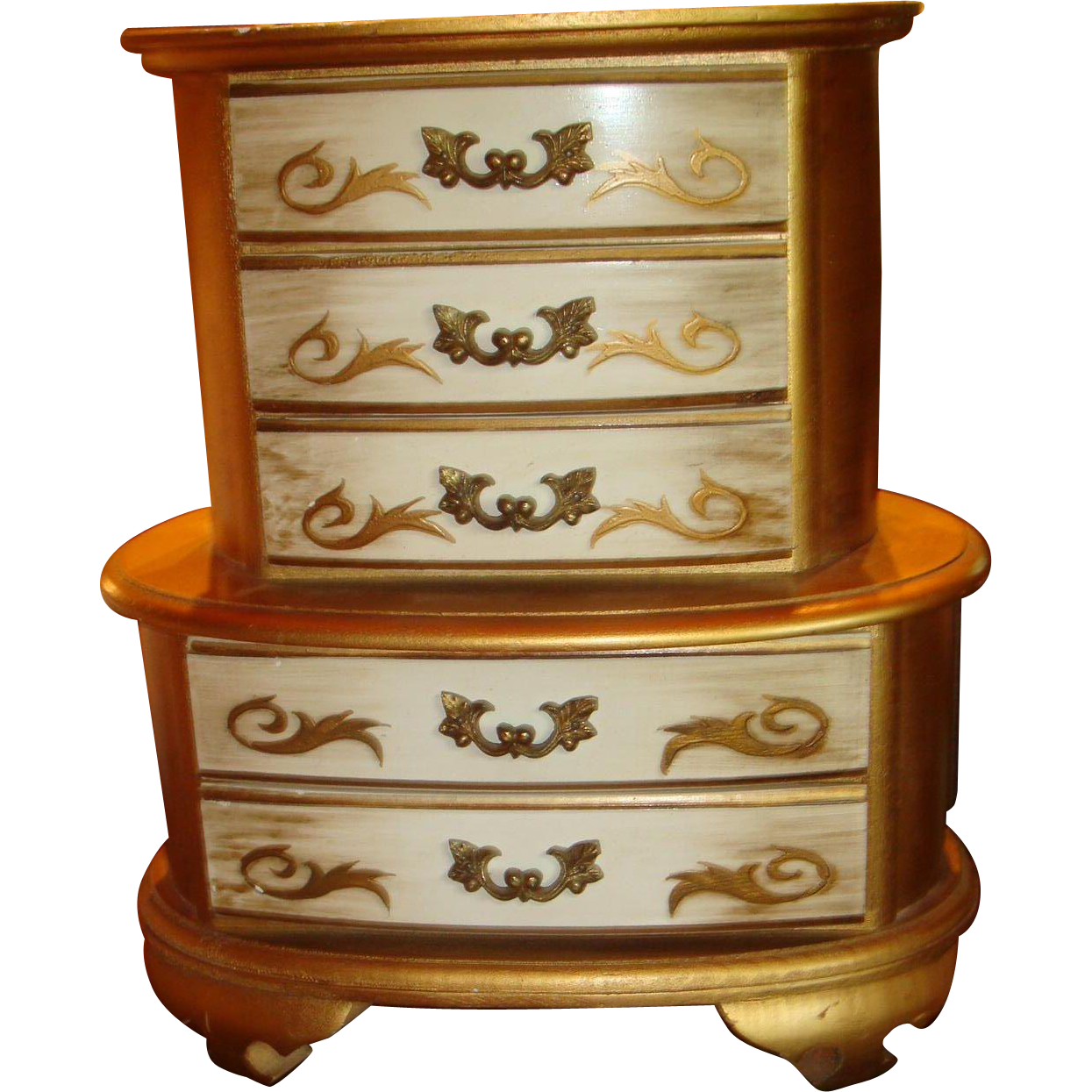 Florentine Wooden Gold Gesso 5 Drawer Double Level Doll Chest Jewelry Box