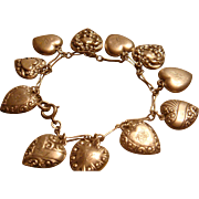 1940's Puffy Hearts Sterling Silver Bracelet Repousse KY Estate