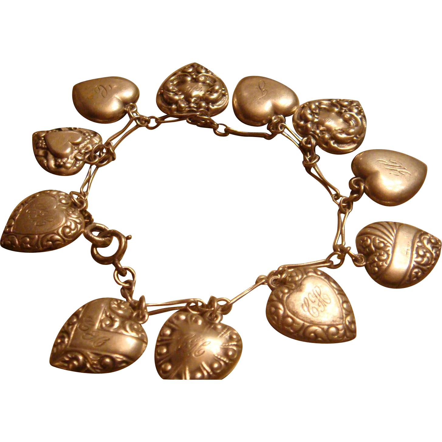 1940's Sterling 11 Puffy Hearts Silver Bracelet Repousse KY Estate