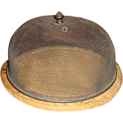 Primitive Wooden Bread Board and 10 Inch Metal Fly Cover