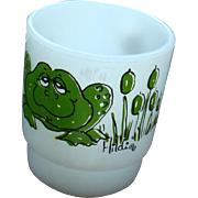 Anchor Hocking Fire King Green Hildi Frog Figural Character Mug