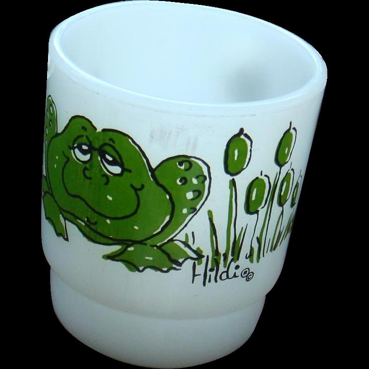 Anchor Hocking Fire King Green Hildi Frog Figural Character Mug