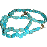 Vintage Natural Turquoise Nuggets and Sterling Silver Necklace 18 1/2 Inches Long