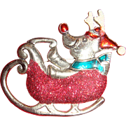 Large Shiny Pewter or Silver, Enamel and Glitter Christmas Pin Whimsical Rudolph Driving Sleigh