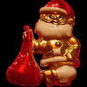 Vintage Christmas Santa Claus Pin With Toy Sack Bag Enameled