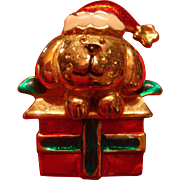 Figural Santa Dog on a Gift  Enameled Christmas Pin