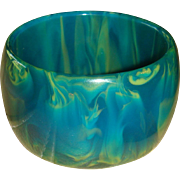 Wide and Gorgeous End of Day or Blue Moon Bakelite Bangle Bracelet