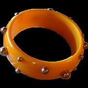 Fall Pumpkin Orange Bakelite Bangle Bracelet With Copper Stud Beads Sputnik Revisited
