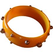 Fall Pumpkin Orange Bakelite Bangle Bracelet With Copper Stud Beads Sputnik Revisited