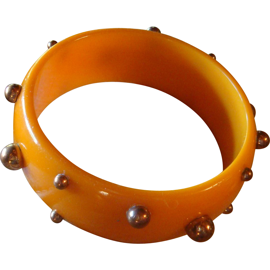 Pumpkin Orange Bakelite Bangle Bracelet With Copper Stud Beads Sputnik