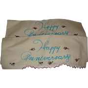 Vintage Happy Anniversary Pillowcases Embroidery, Crochet, Tatting