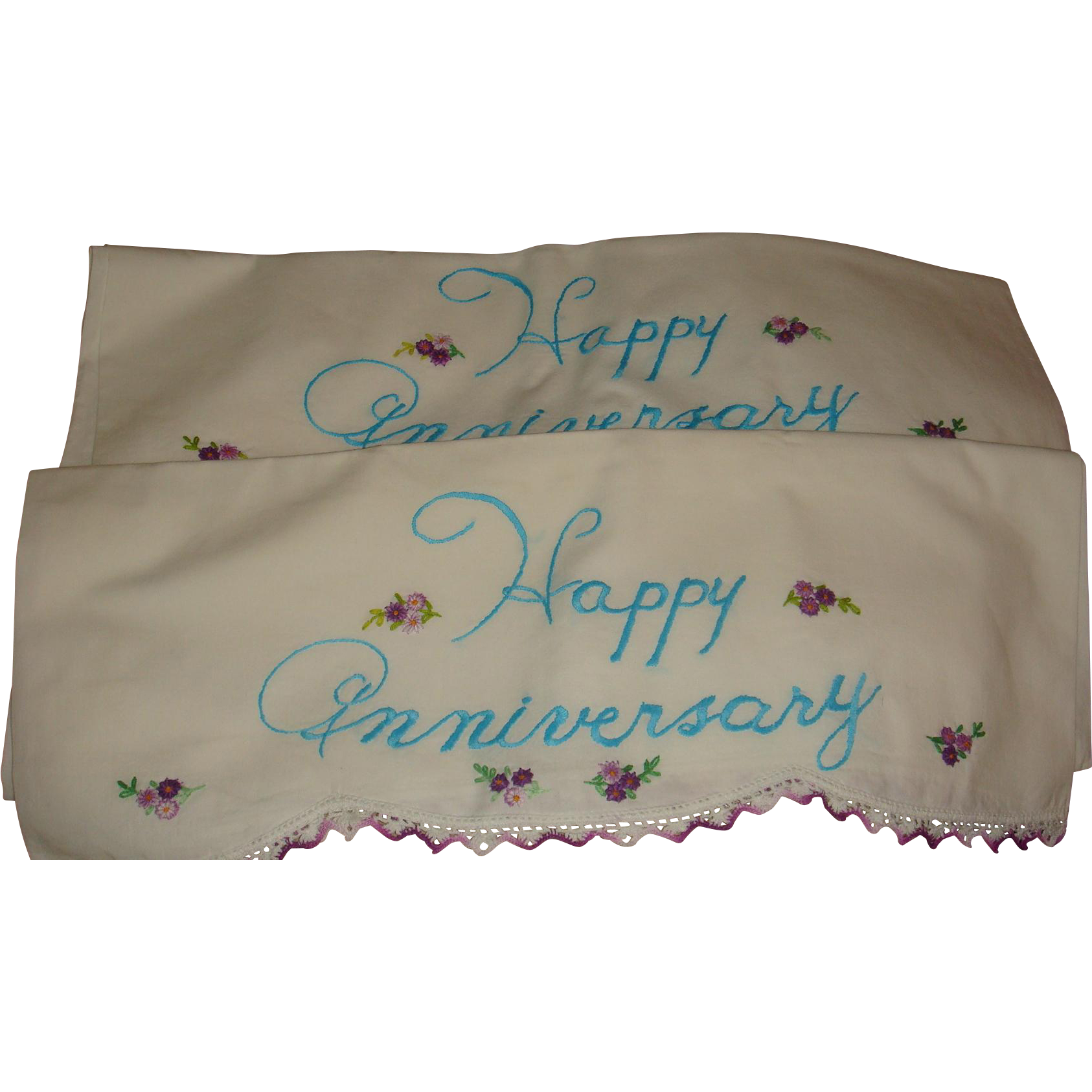 Vintage Happy Anniversary Pillowcases Embroidery, Crochet, Tatting