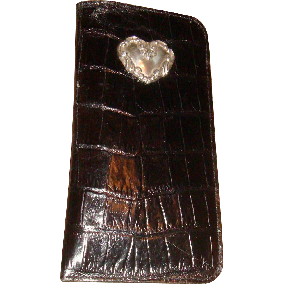 Shiny Black Patent Faux Croc Leather Brighton Eyeglass or Sunglass Case Silver Heart