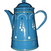 French Enamel Painted Coffee Pot or Teapot Blue Graniteware Petite Size Interesting Enameling Design