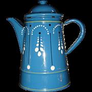 French Enamel Painted Coffee Pot or Teapot Blue Graniteware Petite Size Interesting Enameling Design