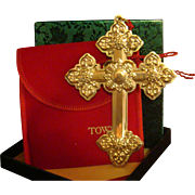 1999 Towle Sterling Silver Cross Christmas Medallion, Ornament Original Box