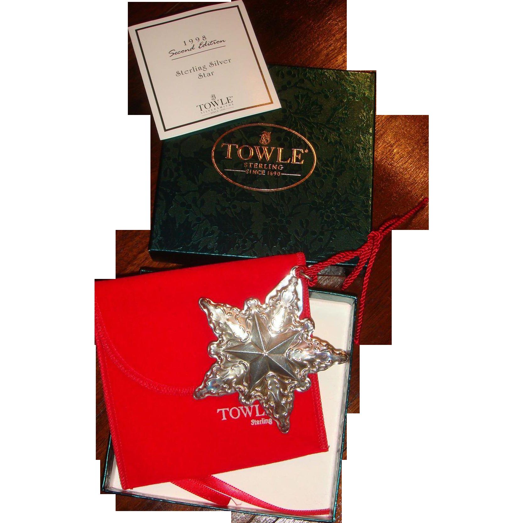 Towle Sterling 1998 Christmas Star Medallion, Ornament, Original Box
