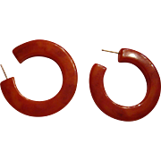 Pumpkin Spice Marbled Bakelite 1 1/2 Inch Hoop Post Earrings Great for Fall