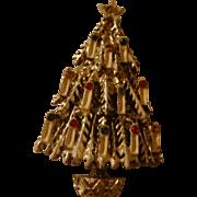 Vintage Flocked Christmas Candle Tree Pin Brooch Rhinestones
