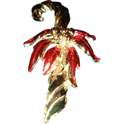 Vintage Red, Green and Silver Enameled Poinsettia Candy Cane Christmas Pin Brooch