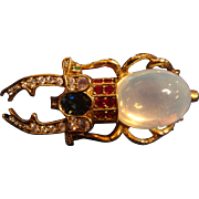 Large Figural Opalescent Moonstone Jelly Belly Beetle Brooch Egyptian Revival Style Joan Rivers