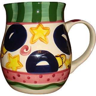 Hard to Find Large Retired 'Tis The Season' Vicki Carroll Pitcher Christmas Ornaments, Stars, Stripes, Dots