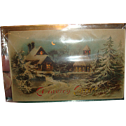 1908 Hold To Light Christmas Postcard Village Church, Stain Glass Windows, Home, Snowscene
