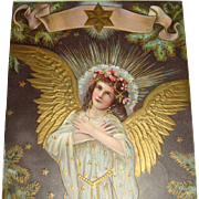 1909 Embossed Christmas Postcard Angel Lots of Gold Gilding Wings, Robe, Star