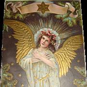 1909 Embossed Christmas Postcard Angel Lots of Gold Gilding Wings, Robe, Star