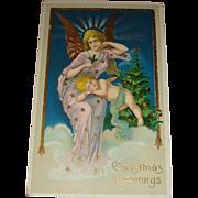 Early Gel Christmas Postcard Gold Gilt, Angel, Cherub, Printed in Germany