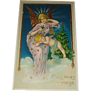 Early Gel Christmas Postcard Gold Gilt, Angel, Cherub, Printed in Germany