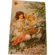 1906 European Christmas Postcard 2 Angels Decorating Tree, Gold Gilt, Basket, Ornaments