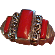 Size 7 Sterling Silver Red Coral Ring Lots of Detail