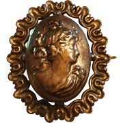 Lang Sterling on Sterling Silver Cameo Brooch Ruffled Edge Frame