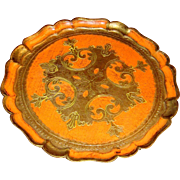 Like New Florentine Orange and Gold Gesso over Wood Tray Round, Scalloped Edges, Made in Italy