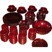 39 Pieces Anchor Hocking Fire King Royal Ruby Bubble Glass Dinnerware 1941-1968