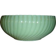 Mint Anchor Hocking Fire King Jadite Ribbed Bulb Bowl Planter