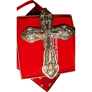 Wallace Sterling 1996 Grande Baroque Cross Ornament Boxed Medallion
