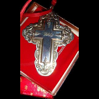 Large Wallace Sterling Silver 1998 Grande Baroque Cross Ornament Original Box