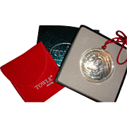 1993 Towle Sterling Silver Boxed Christmas Ornament Medallion Mother and Child The Story of Christmas